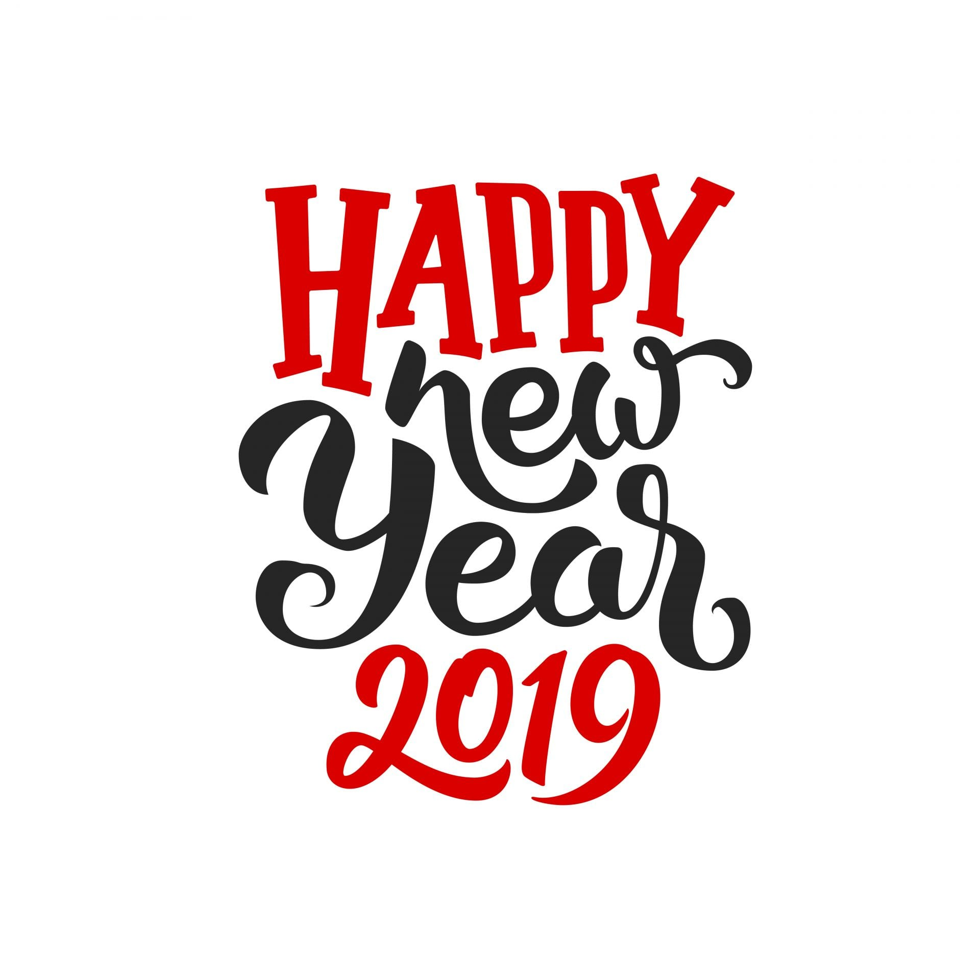 Happy New Year 2019 vector greeting card design
