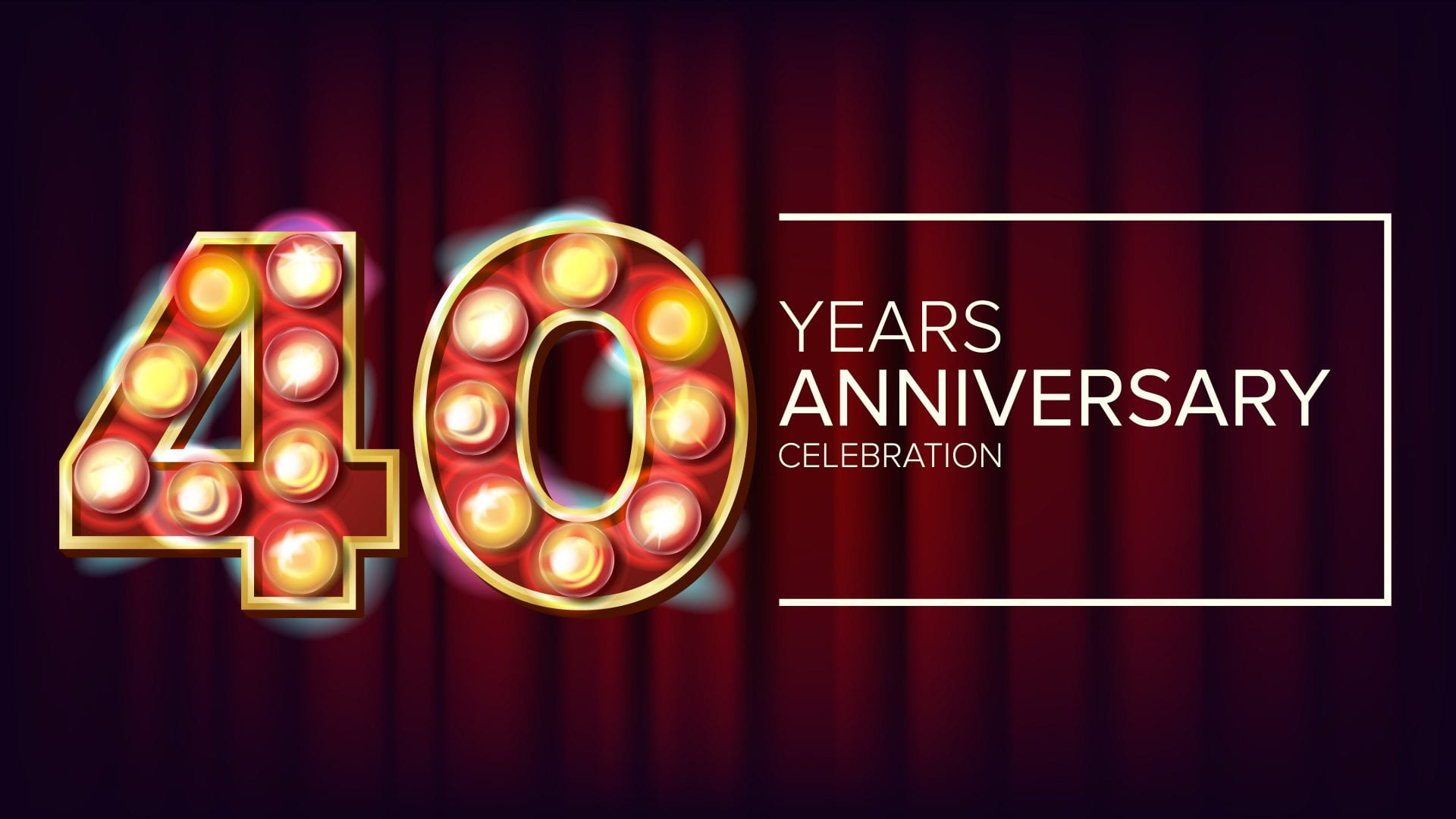 40 Years Anniversary Banner Vector. Forty, Fortieth Celebration. Vintage Style Illuminated Light Digits. For Congratulation Postcards, Flyers, Gift Cards Advertising Design. Red Background Illustration
