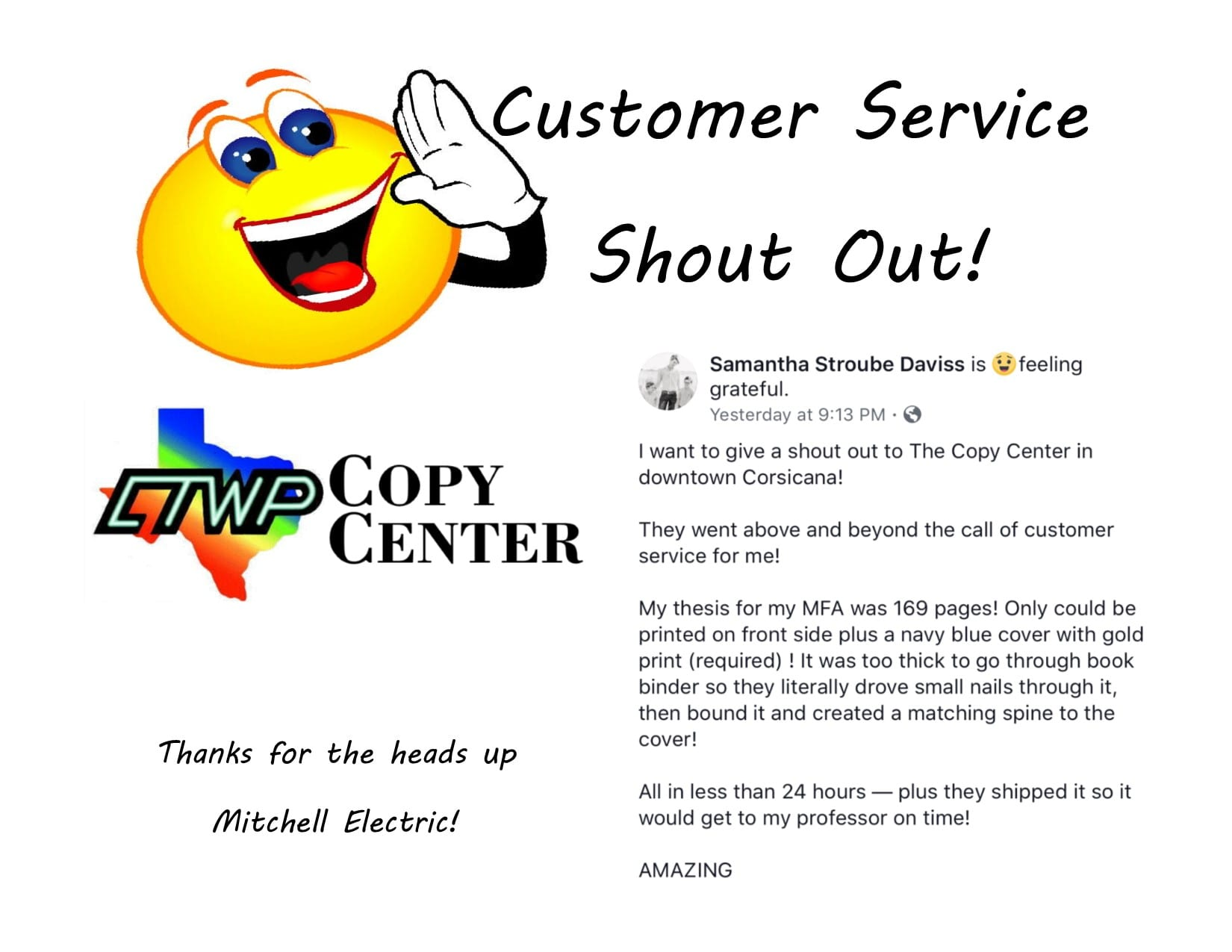 Customer Service SHout out